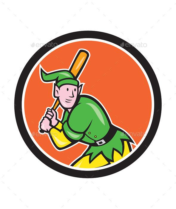 Elf Baseball Player Batting Circle Cartoon - Sports/Activity Conceptual