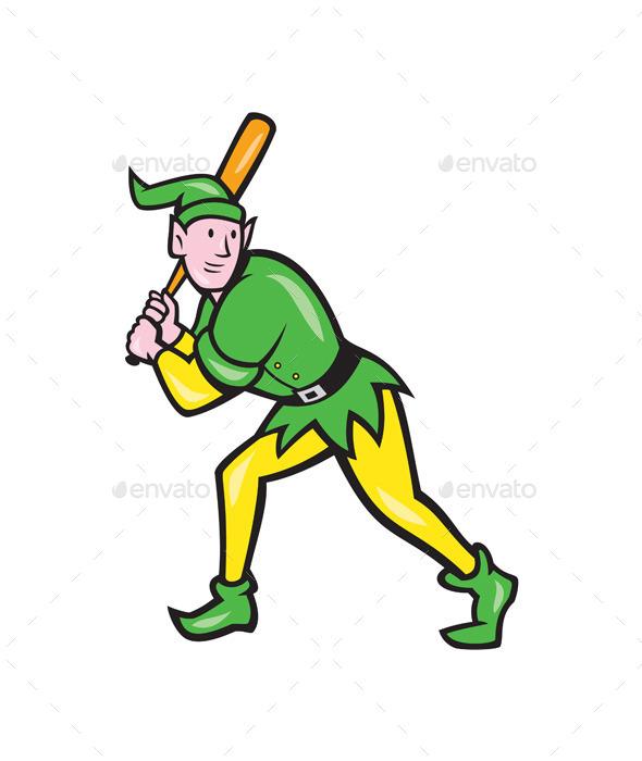 Elf Baseball Player Batting - Sports/Activity Conceptual