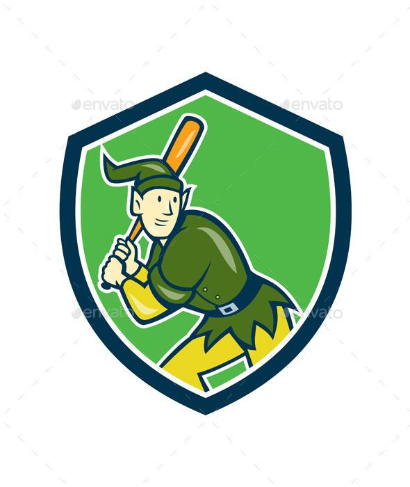 Elf Baseball Player Batting Shield Cartoon - Sports/Activity Conceptual