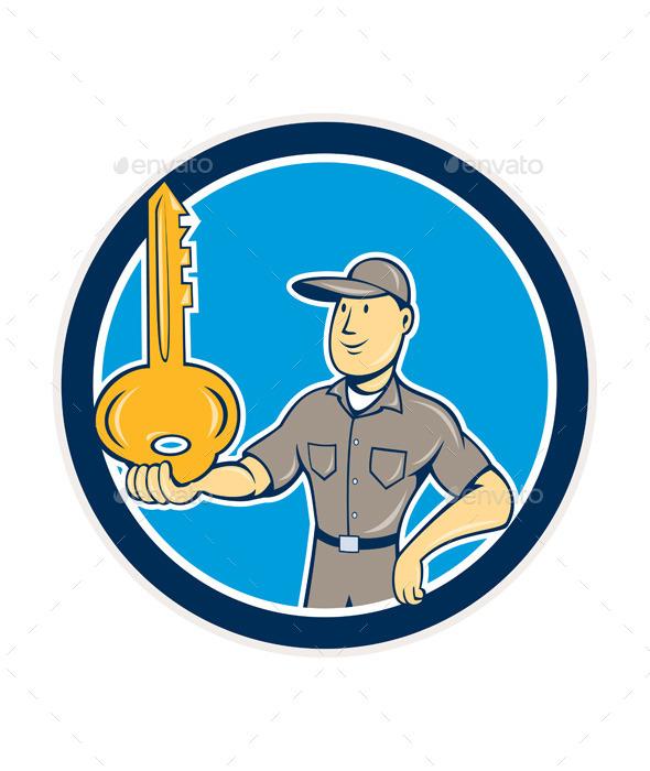 Locksmith Balancing Key Cartoon - People Characters