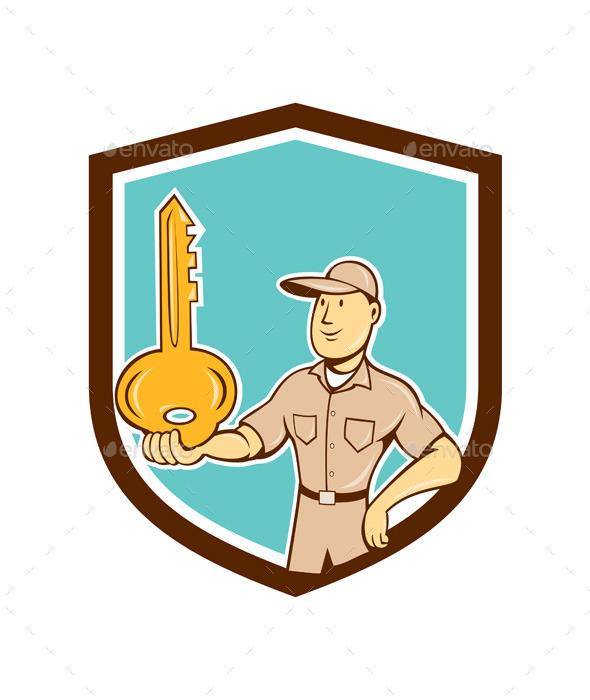 Locksmith Balancing Key Palm Cartoon - People Characters