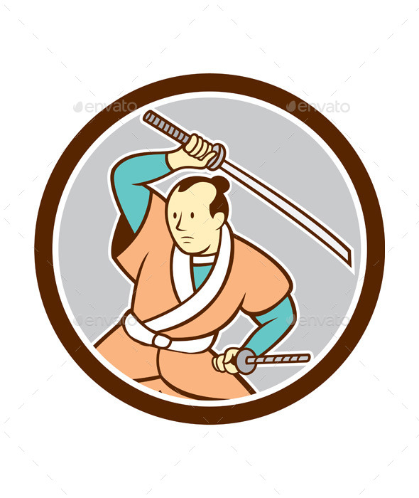 Samurai Warrior Katana Sword Circle Cartoon - People Characters