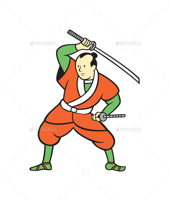 Samurai Warrior Wielding Katana Sword Cartoon - People Characters