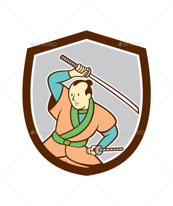 Samurai Warrior Katana Sword Shield Cartoon - People Characters