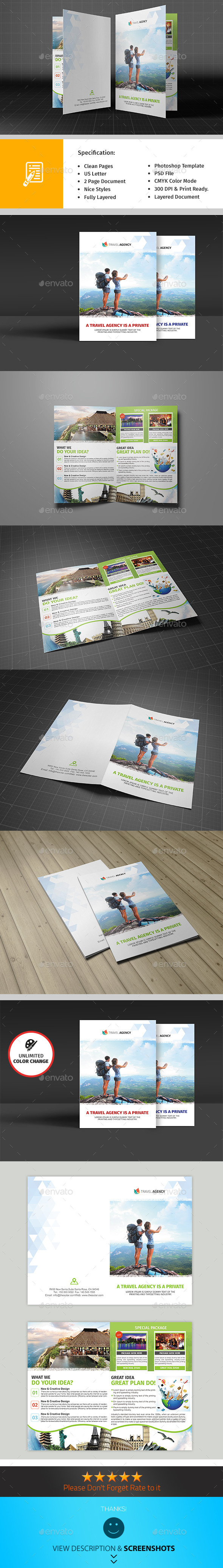 Holiday Travel Agency Bifold Brochure - Corporate Brochures
