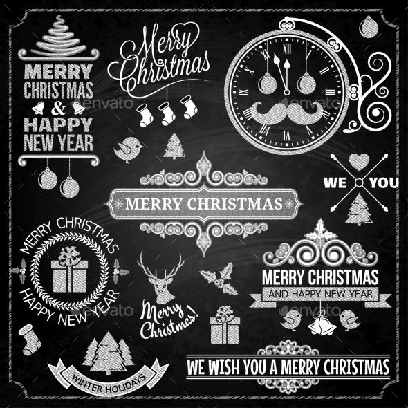 Christmas Ornaments Chalk Set  - Christmas Seasons/Holidays