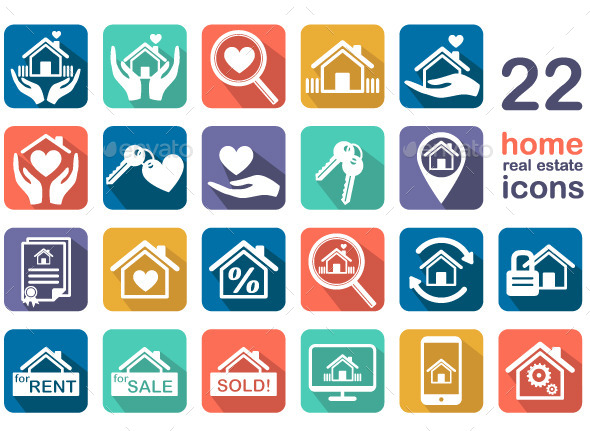 Home, Real Estate Icon Set - Web Elements Vectors