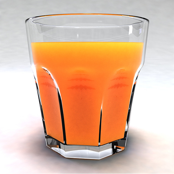 Glass with Orange Juice - 3DOcean Item for Sale