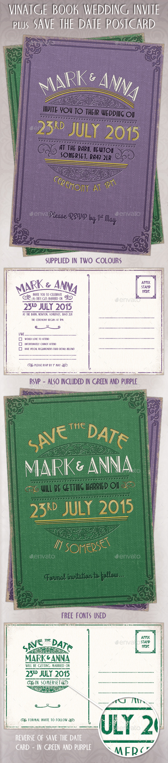 Vintage Wedding Invites, RSVP & Save the Date - Weddings Cards & Invites