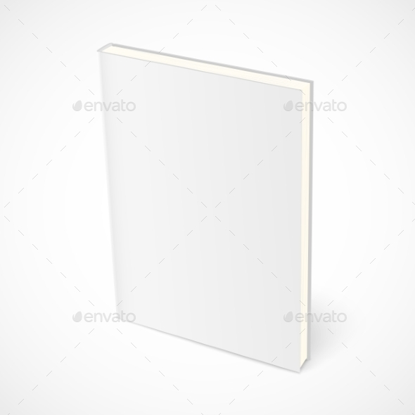 Empty Standing Book with White Cover - Objects Vectors