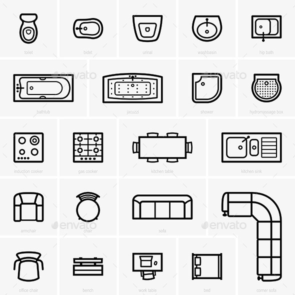Top View Furniture Icons - Miscellaneous Vectors