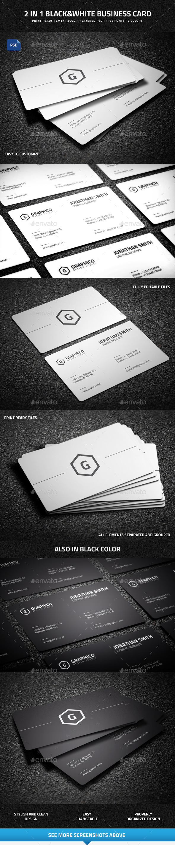 2 in 1 Black & White Business Card - 50 - Creative Business Cards