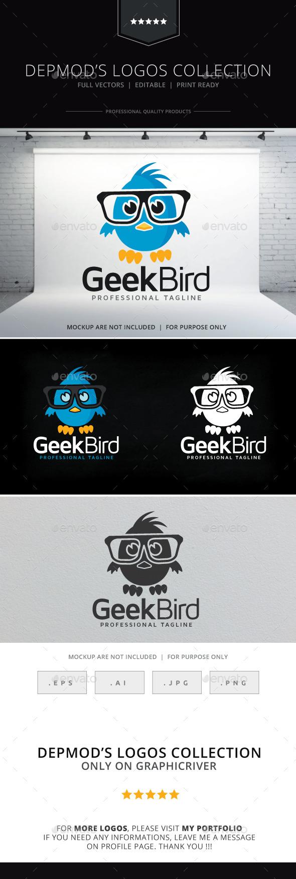 Geek Bird Logo - Animals Logo Templates