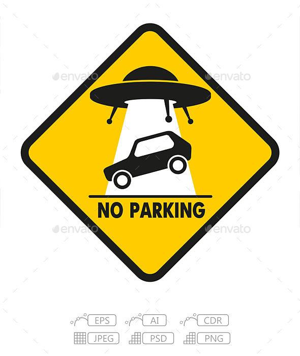 Road Sign UFO Abduction Car - Conceptual Vectors