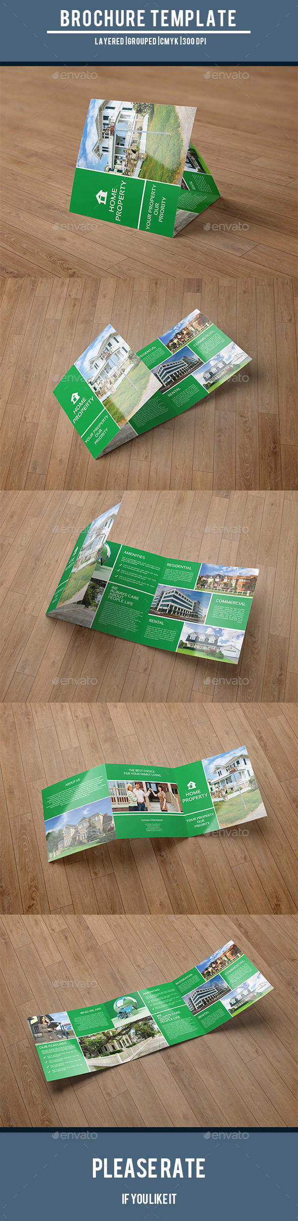 Square Trifold for Real Estate Company-V52 - Corporate Brochures