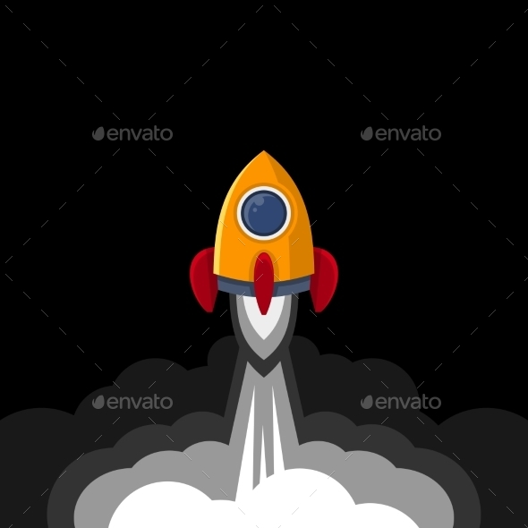 Space Rocket on Black Sky Background - Technology Conceptual