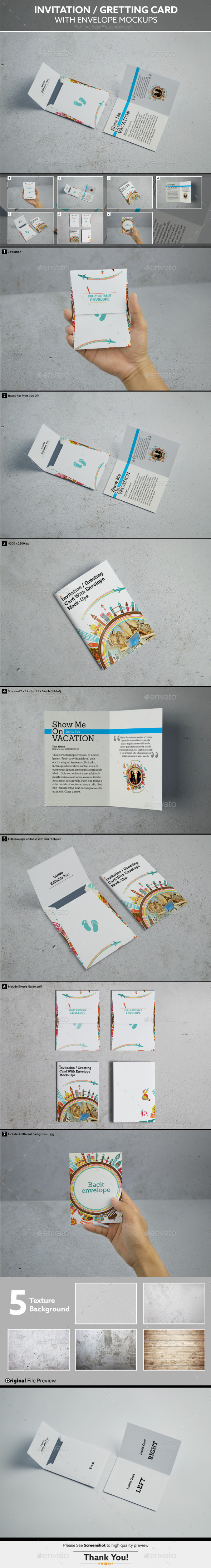 Invitation / Gretting Card With Envelope Mockups - Miscellaneous Print