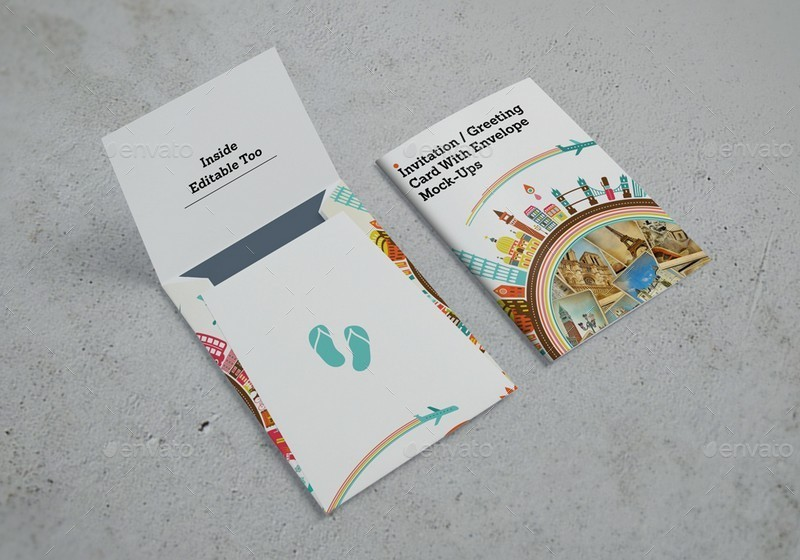 Invitation gretting card with envelope mockups by kongkow invitation or gretting card with envelope mockupsg stopboris Images