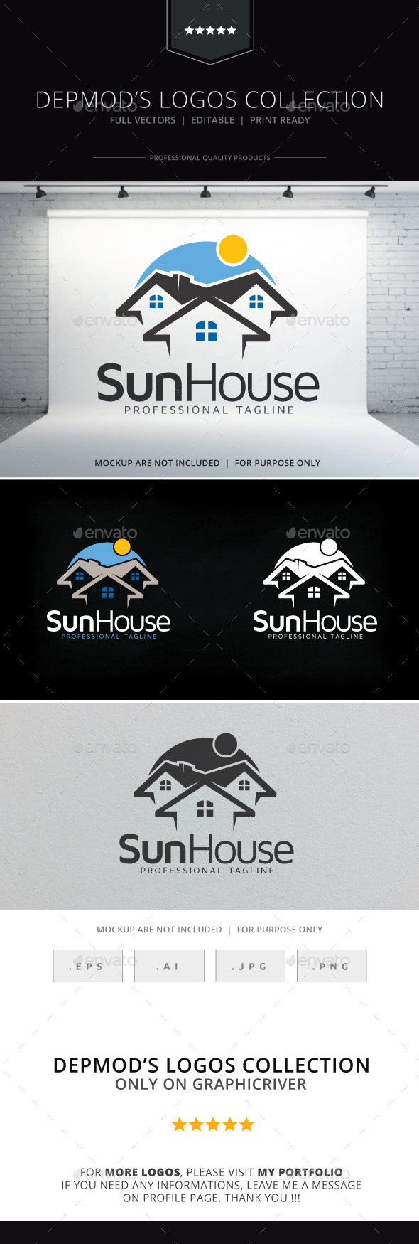 Sun House Logo - Buildings Logo Templates