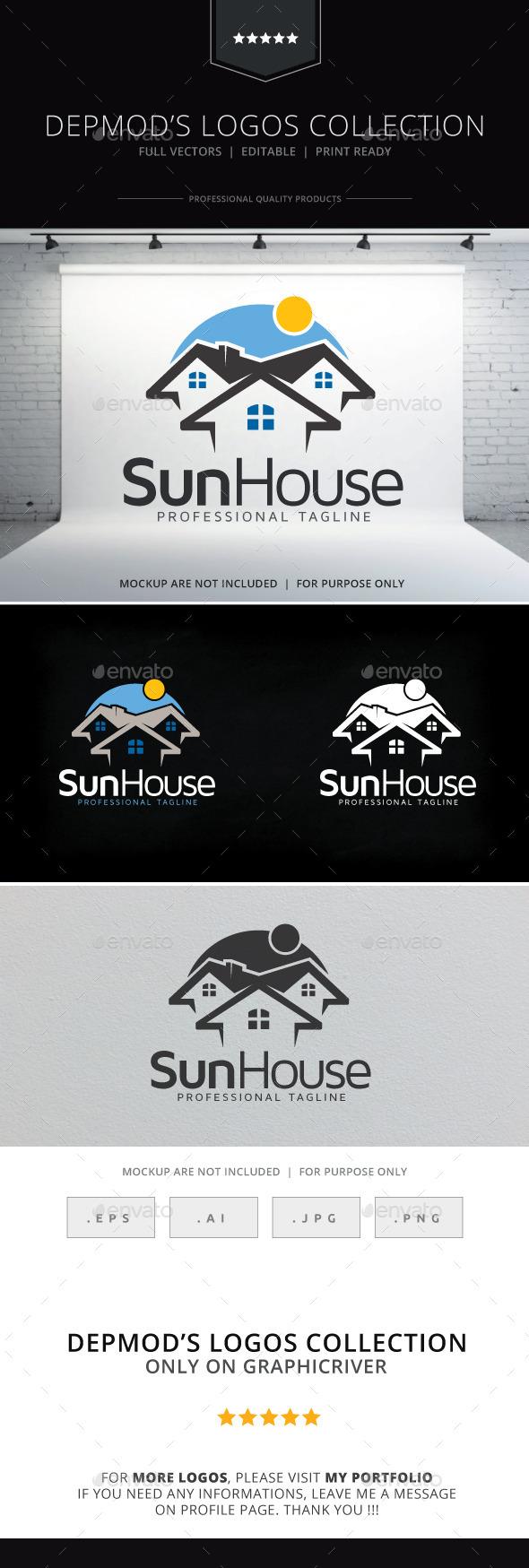 Sun House Logo - Buildings Logo Templates