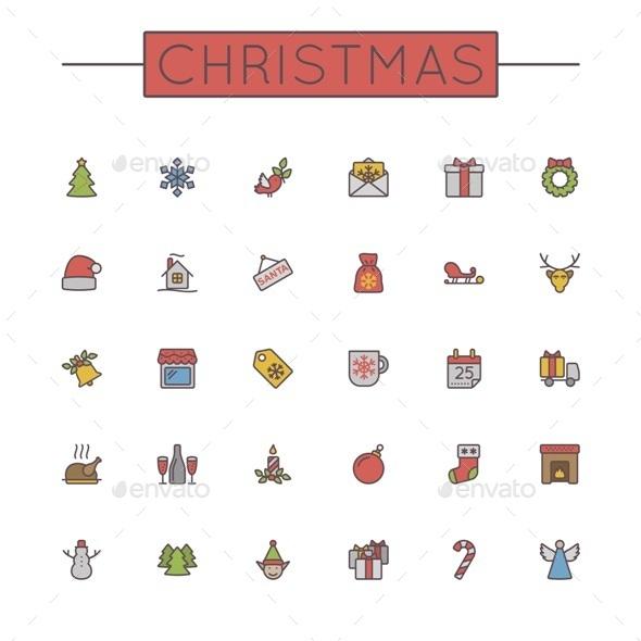 Vector Colored Christmas Line Icons - Seasonal Icons