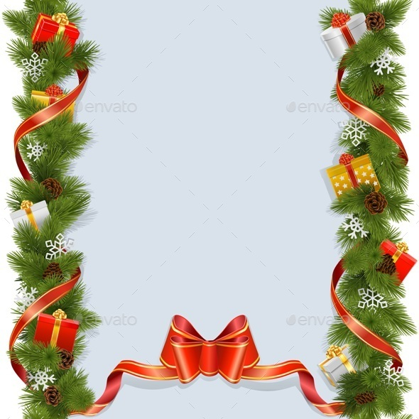 Christmas Background with Gifts - Christmas Seasons/Holidays