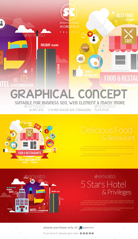 Flat Concept for Restaurant & Hotel - Miscellaneous Conceptual