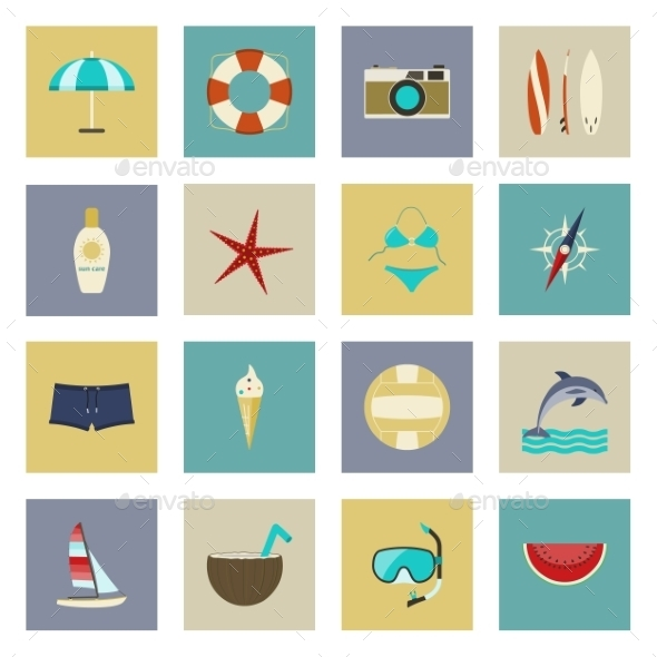 Beach Vacation and Travel Flat Icons Set - Travel Conceptual
