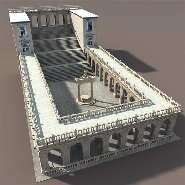 Montecassino Castle - Patio - 3DOcean Item for Sale