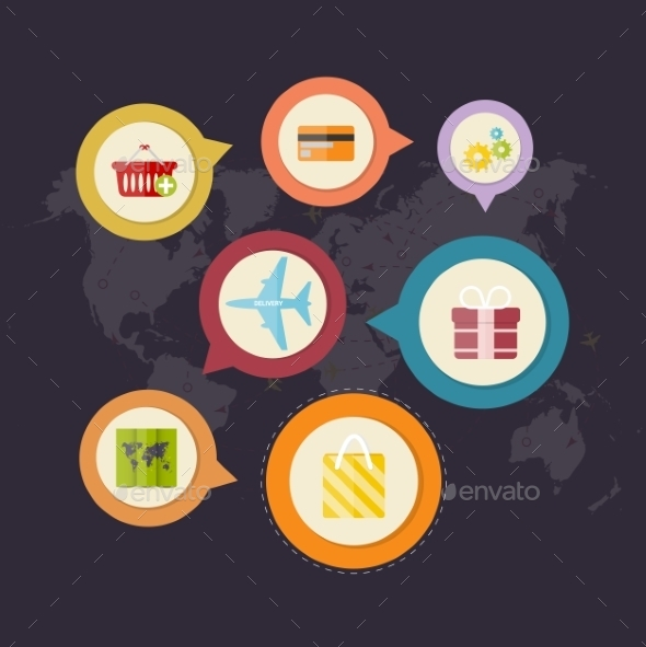 Infographics Purchase and Delivery of Goods - Retail Commercial / Shopping