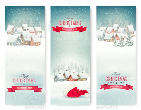 Holiday Christmas Banners with Villages - Christmas Seasons/Holidays