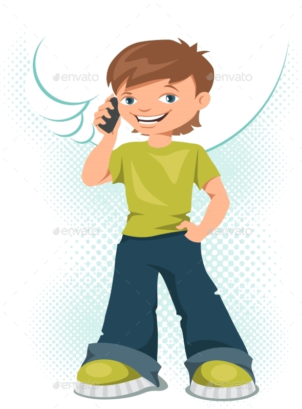 Young Teen Boy Talking on His Mobile Phone - People Characters