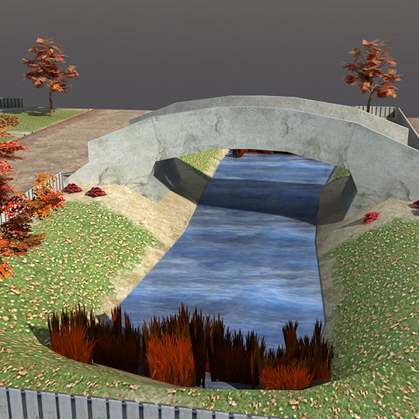 Low poly Park Autumn - 3DOcean Item for Sale