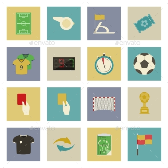 Soccer Flat Icons Set - Sports/Activity Conceptual