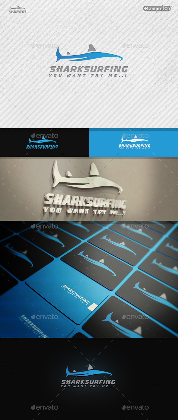 Shark Surfing Logo - Animals Logo Templates