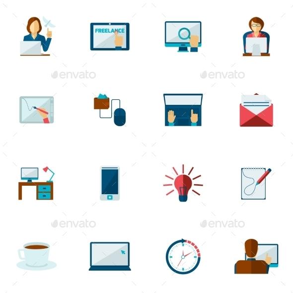 Freelance Icon Flat Set - Business Icons