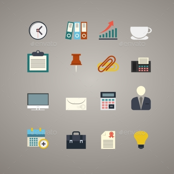 Business and Office Icons Set - Computers Technology