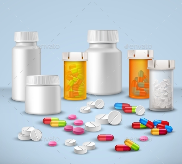 Pill Bottles Set - Health/Medicine Conceptual