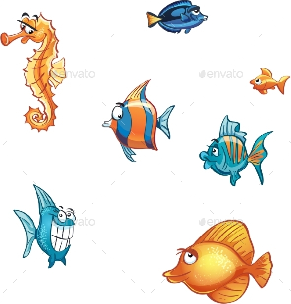 Set of Cartoon Fish - Animals Characters