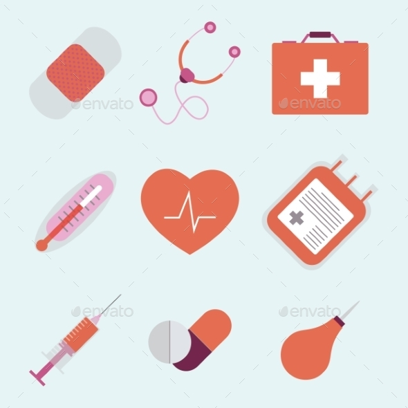 Decorative Medical Emergency First Aid Kit Symbols - Health/Medicine Conceptual