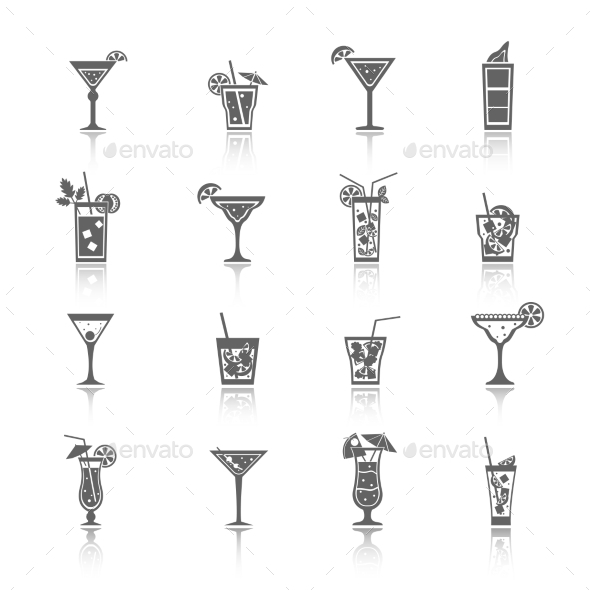 Alcohol Cocktails Icons - Food Objects