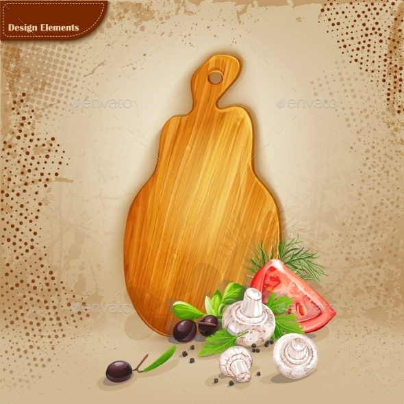 Wooden Board and Vegetables  - Food Objects