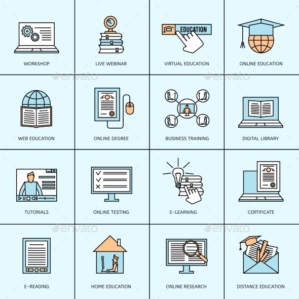 Online Education Icons Set - Icons
