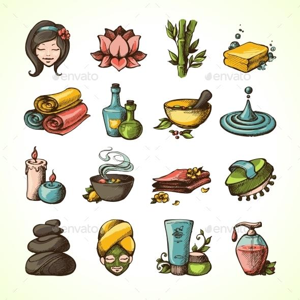 Spa Sketch Icons Colored - Decorative Vectors