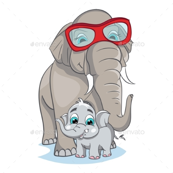 Image of Mother and Baby Elephant - Birthdays Seasons/Holidays