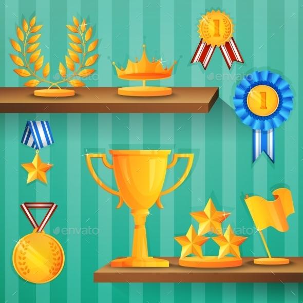 Award Shelves Background - Backgrounds Decorative