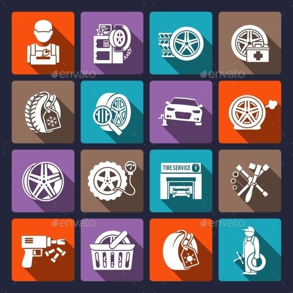Tire Service Icons - Technology Conceptual