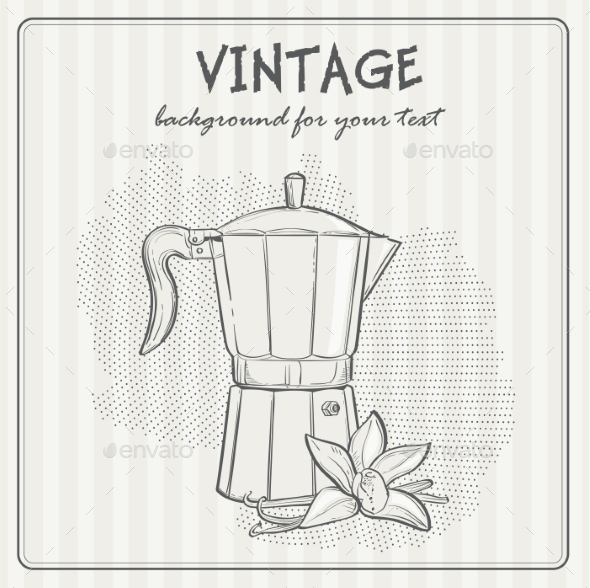 Vintage Background with Coffee - Food Objects