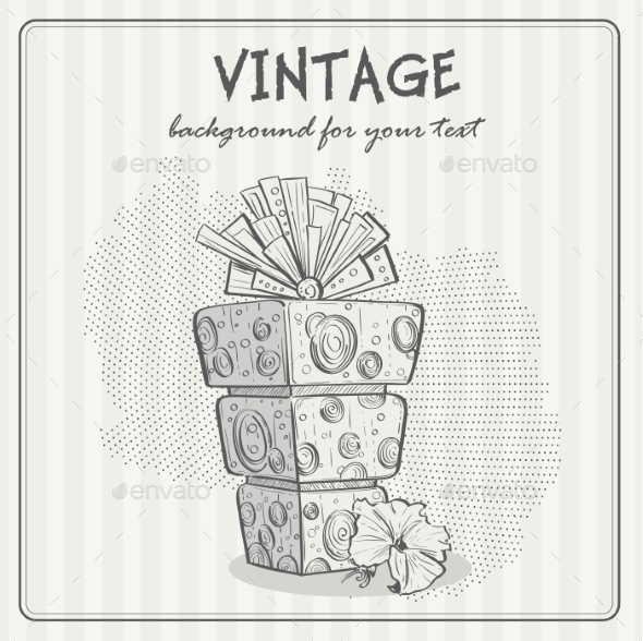 Vintage Background with a Birthday Cake - Birthdays Seasons/Holidays