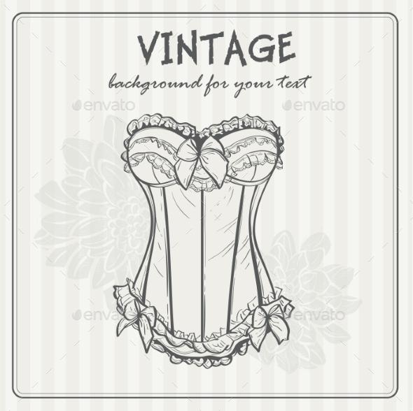Vintage Background with Underwear - Decorative Symbols Decorative
